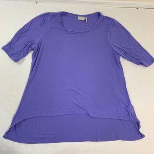 LOGO Lori Goldstein Purple Blouse Top XL